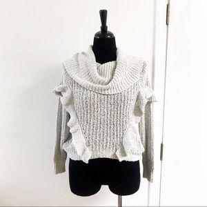 EXPRESS Ruffle Waffle Knit Cowl Neck Grey Sweater